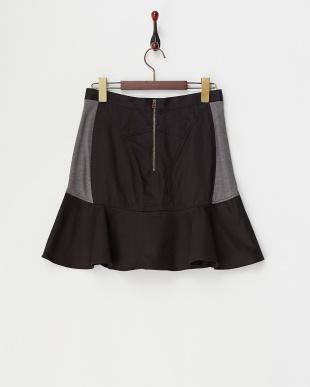 クロ  ポンチ切り替えペプラムスカート見る