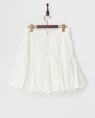 オフホワイト  裾フレアコットンスカート見る