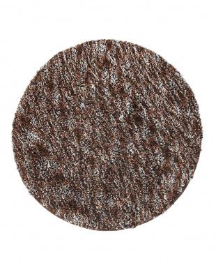 ブラウン  メリメロ ミックスカラーシャギー円形ラグ 150cm見る