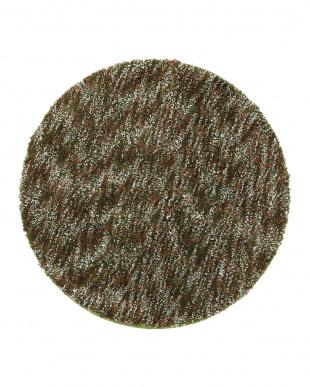 グリーン  メリメロ ミックスカラーシャギー円形ラグ 150cm見る