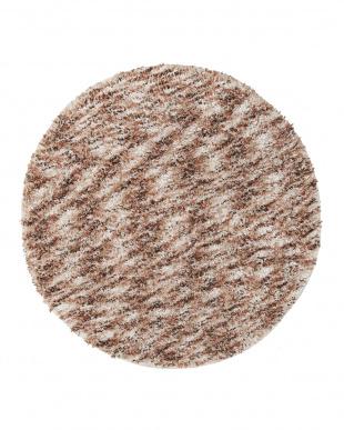 アイボリー  メリメロ ミックスカラーシャギー円形ラグ 150cm見る