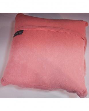 ピンクA ダブルフェイスムートンクッション約35×35cm見る