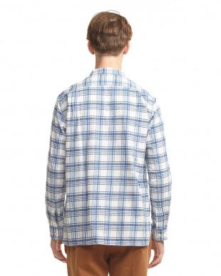 WHT/BLU  バンドカラー プルオーバーシャツ UR見る
