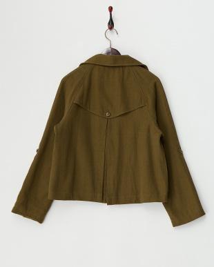 カーキ  コットンツイル・ショートトレンチジャケット 手織り見る