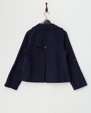 ネイビーブルー  コットンツイル・ショートトレンチジャケット 手織り見る