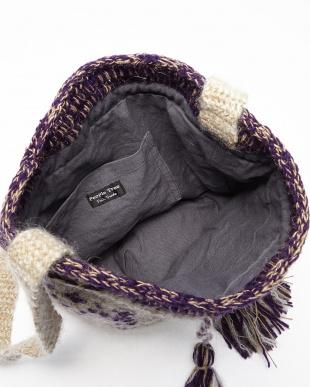 ホワイト系 手編みモヘア・ショルダーバッグ見る