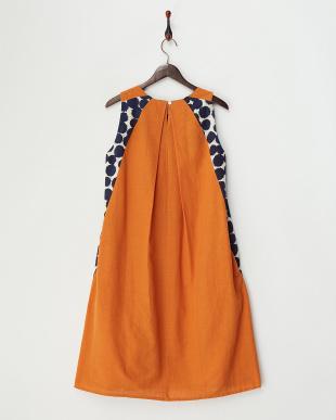 ブルー 手織りイカットドット・Aラインドレス見る