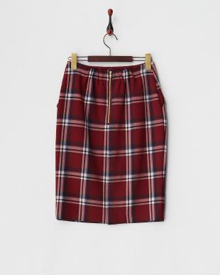 ボルドー  チェック柄ストレッチタイトスカート見る