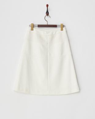 オフホワイト  ウール混 切り替えスカート見る