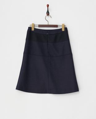 ネイビー  ウール混 切り替えスカート見る