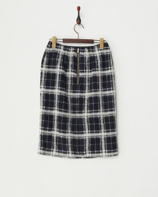 ネイビー  起毛チェックタイトスカート見る