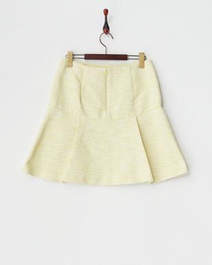 イエロー  ファンシーカラーツイードスカート見る