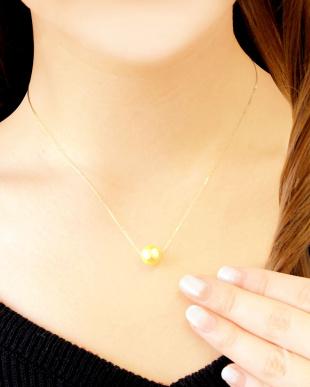 K18YG あこや本真珠 8.5mm~9mm 大玉ゴールデンパール 一粒スルーネックレス見る