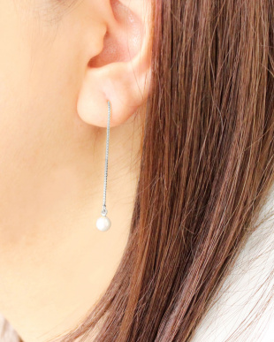シルバーカラー  あこや本真珠 ベビーパール 5.5~6mm 一粒ヨーロピアンピアス見る