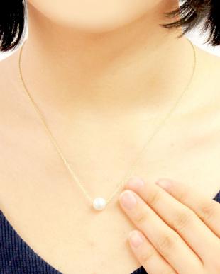 ゴールドカラー  あこや本真珠 大玉8~8.5mm 一粒スルーネックレス見る