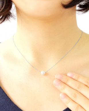 K18WG  あこや本真珠 7~7.5mm 一粒スルーネックレス見る