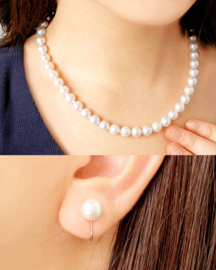 花珠あこや本真珠 8~8.5mm 連ネックレス&イヤリング 2点セット見る