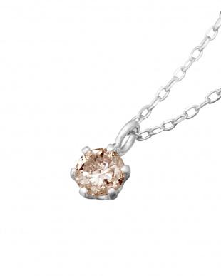 SV 天然ダイヤモンド 0.1ct 6本爪 一粒ネックレス見る