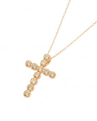K18PG   天然ダイヤモンド 11石 0.2ct クロスネックレス見る