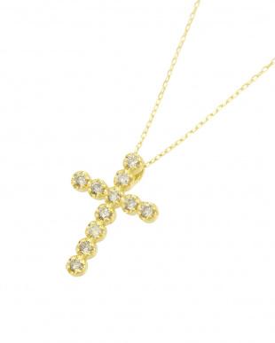 K18YG   天然ダイヤモンド 11石 0.2ct クロスネックレス見る