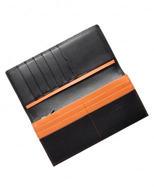 オレンジ×ブラック  長財布・型押し見る