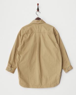 ベージュ ミリタリーシャツジャケット見る