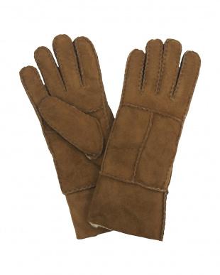 ベージュ  ムートン 手袋見る