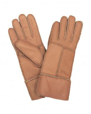 ピンク  ムートン 手袋見る