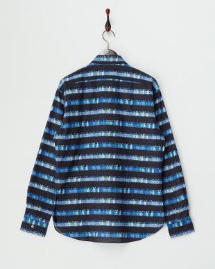 ダークネイビー×ブルー デザインボーダーシャツ見る