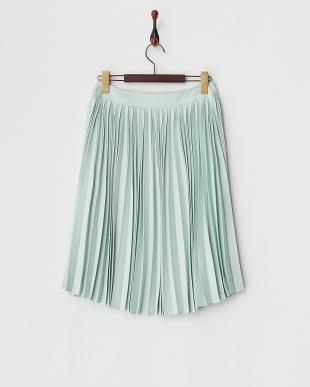 グリーン  ヌバックタッチプリーツスカート見る