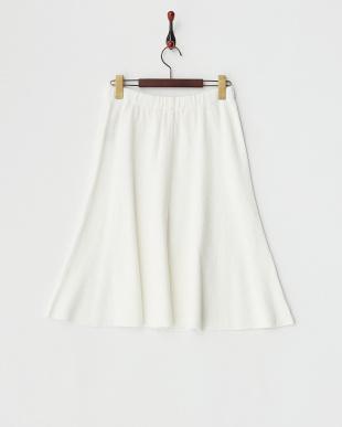 ホワイト  リンクス編みスカート見る