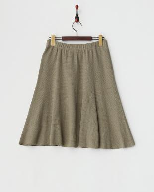 カーキ  リンクス編みスカート見る