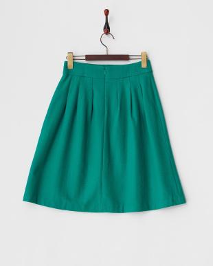 グリーン  ウール混フラノスカート見る