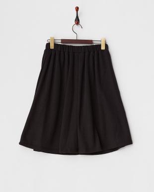 ブラック  ウォーム裏毛ギャザースカート見る