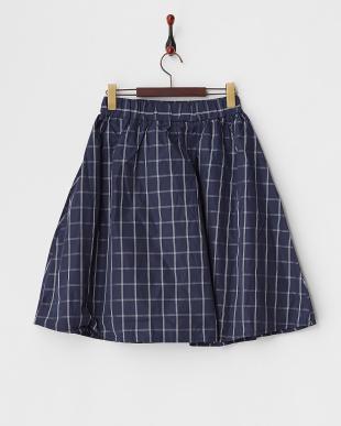 ネイビー  タフタチェック柄スカート見る