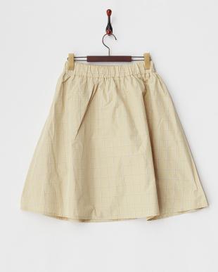 ベージュ  タフタチェック柄スカート見る