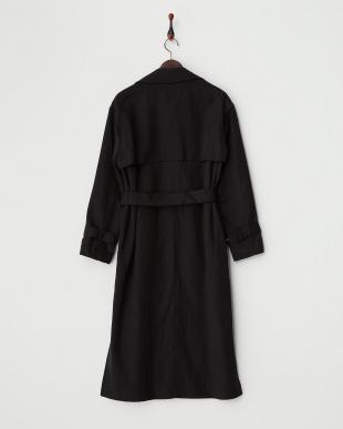 ブラック  リネン混ロングコート見る