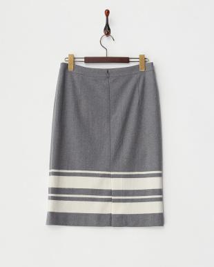 グレー  裾ボーダースカート見る