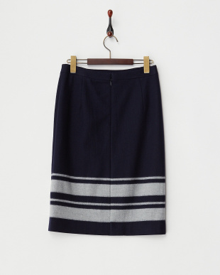 ネイビー  裾ボーダースカート見る