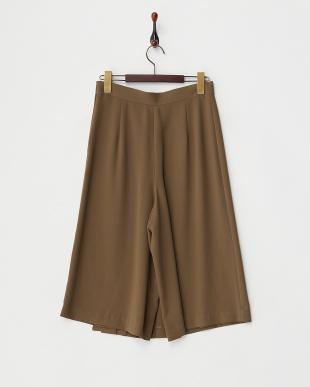 カーキ  プリーツスカート風パンツ見る