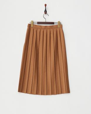 キャメル  プリーツスカート見る