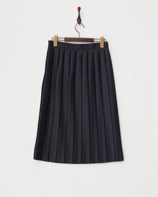 ネイビー  プリーツスカート見る