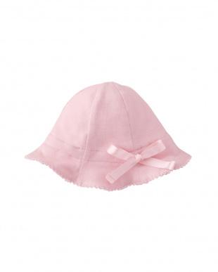 ピンク クマ&ぶどうリバーシブル新生児ハット見る