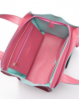 PINK/L.BLUE  ポーチ付きレザー調トートバッグ見る