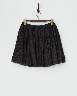 ブラック  プリーツチュールレーススカート見る