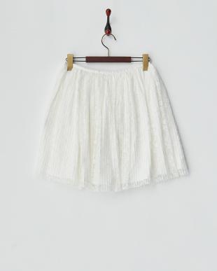 ホワイト  プリーツチュールレーススカート見る