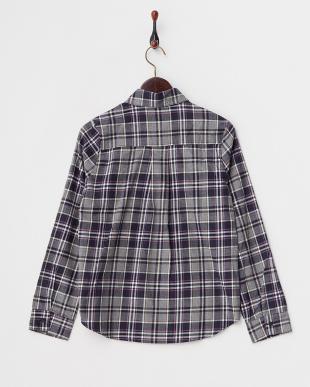 NAVY×PURPLE  チェックシャツ見る