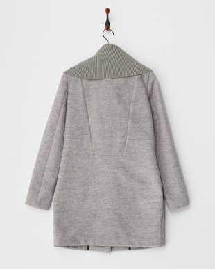 GREY MELANGE  JAIMY BONDED MIX CLOTH LONG JACKETS見る
