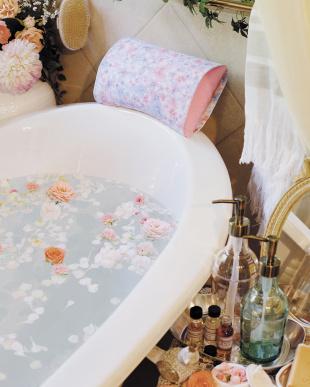 フェアリーピンク  バスピロー フアフロ ミニ  花柄見る