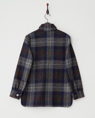 グレー×ブルー ハリスツイード シャツジャケット見る